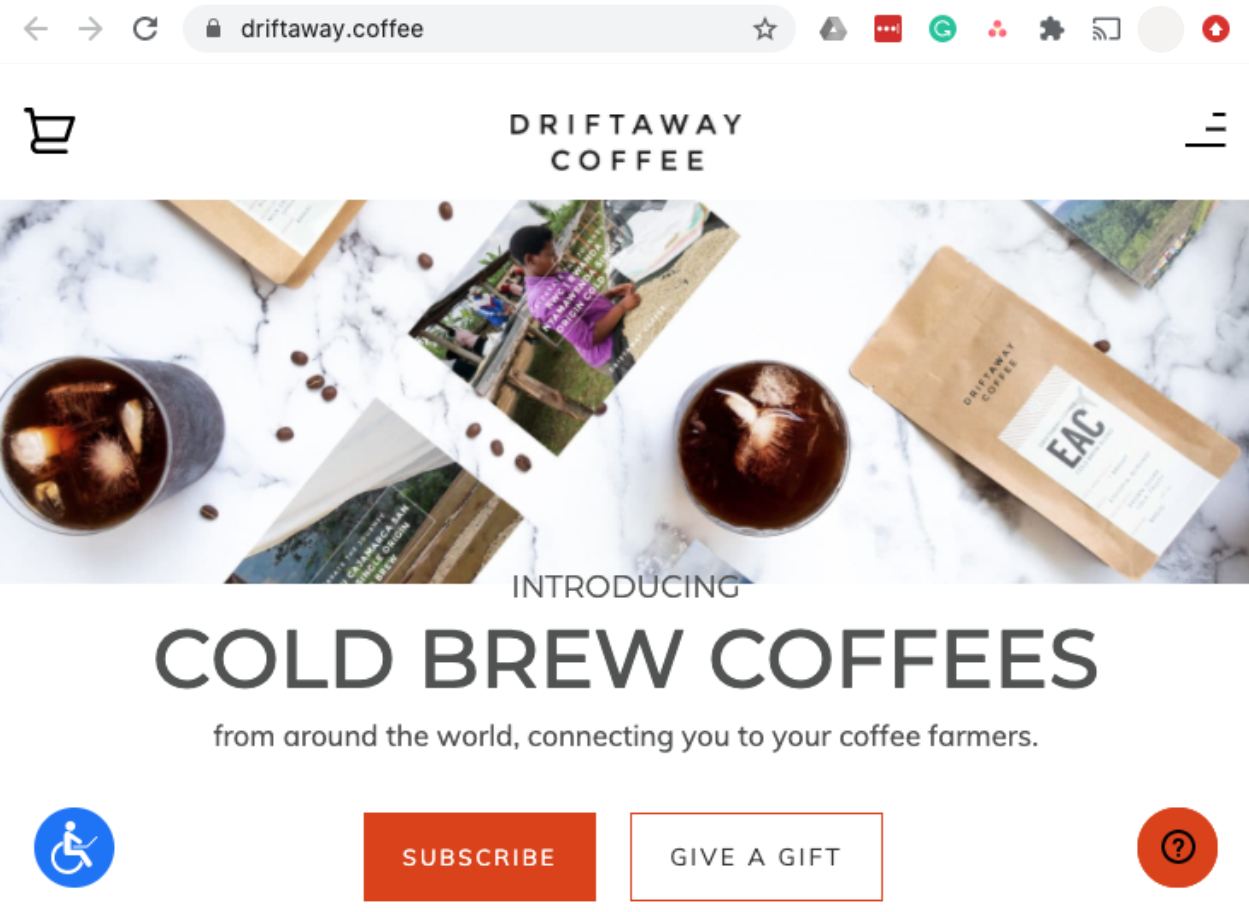 driftaway.coffee website