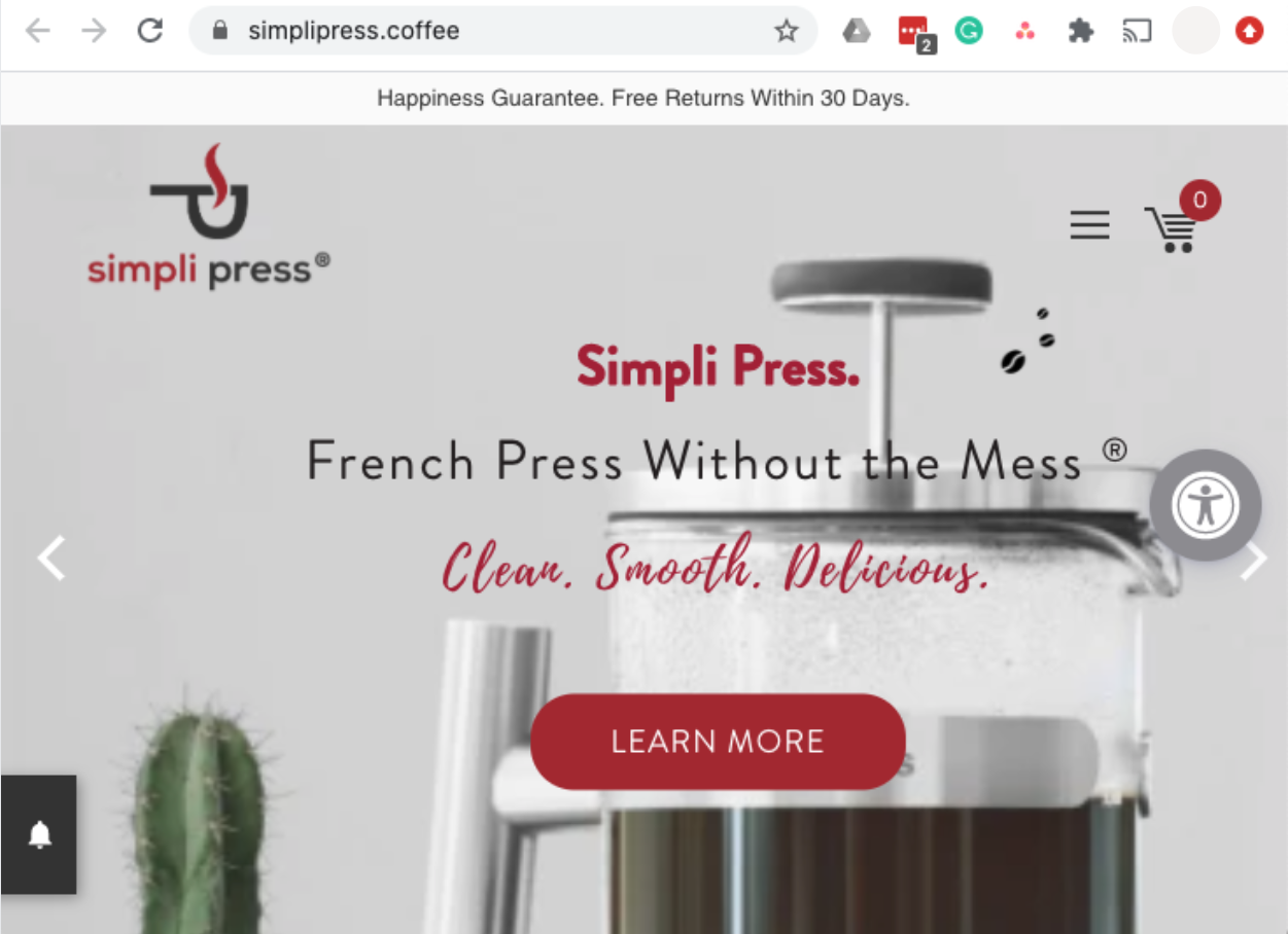 simplipress.coffee website