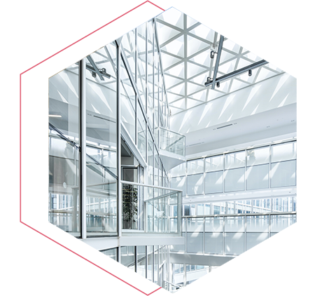 inside of a glass building